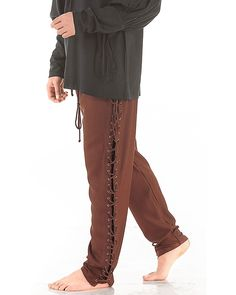 Medieval Renaissance Pirate Lace-Up Pants Costume C1122 [Chocolate] (Large)