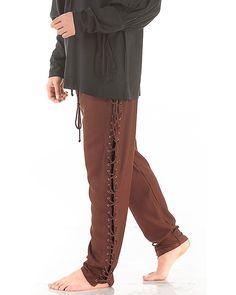 Medieval Renaissance Pirate Lace-Up Pants Costume C1122 [Chocolate] (Large)