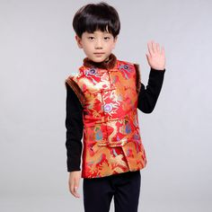 Boys Kids Children Tang Suit Cotton Fur Vest Gilet Embroidery Dragon Chinese New #Unbranded #GiletsBodywarmers #CasualPartySmart