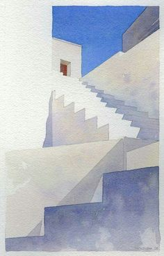 Architecture minimalist watercolor, stairs and white exterior illustration painting with blue sky. Watercolor Drawing, Watercolor Landscape, Painting & Drawing, Watercolor Tips, Art Aquarelle, Watercolor Architecture, Guache, Painting Inspiration, Art Drawings