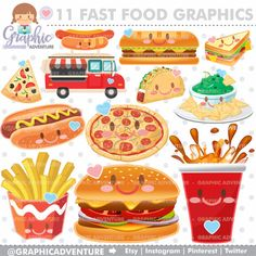 Fast Food Clipart - Fast Food Graphics by ww.GraphicAdventure.etsy.com