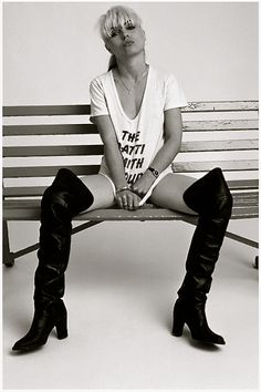 Debbie Harry wearing a Patti Smith Group t-shirt, thigh-high boots, and not much else, by Brian Duffy Blondie Debbie Harry, Debbie Harry Hot, Patti Smith Group, Gi Joe, Chica Punk, Brian Duffy, Women Of Rock, Estilo Rock, Deneuve