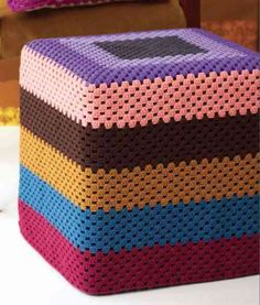 crochet ottoman slipcover from Sarah London's Granny Square Love