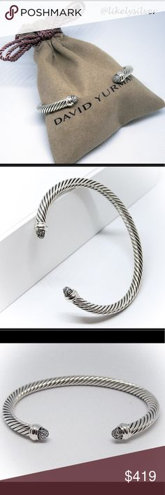 """David Yurman 5mm Diamond Sterling Silver Cuff Br David Yurman Sterling Silver Cuff Bracelet ✔️Size: will fit the wrist up to 7"""" 💎Diamond: 0,26 TCW ✔️Bracelet width: 5mm ✔️Condition: excellent, no missing stones.   ✔️Comes with DY pouch ❌⛔️NO TRADE SORRY ⛔️❌ David Yurman Jewelry Bracelets"""