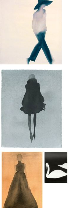 Fashion Illustration-- i would like something like this (watercolor fashion sillohette) in a walk in closet