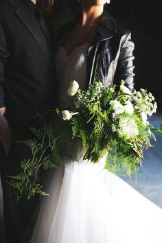 leather jacket + wedding dress? duhhh