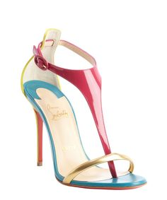 replica christian louboutin mens shoes - christian louboutin T-strap sandals Gold metallic leather rosette ...