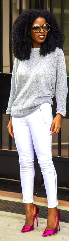 ***Try Hair Trigger Growth Elixir*** ========================= {Grow Lust Worthy Hair FASTER Naturally with Hair Trigger} ========================= Go To: www.HairTriggerr.com =========================     Oversize Sweater + White Moto Jeans with Punchy Pointy Toe Heels by Style Pantry