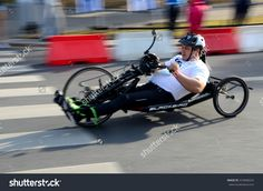 WROCLAW, POLAND - SEPTEMBER 13: Unidentified rider during special horizontal bike race arranged on 13th September 2015  in Wroclaw, Poland.
