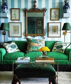 Living Room Designs, Living Room Decor, Living Spaces, Dining Room, Salons Cottage, Style Deco, Green Rooms, Elegant Homes, New Wall