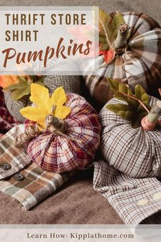 Easy Sew Fabric Pumpkins, thirft store shirt pumpkins how to make tutorial Easy Sew Goodwill Shirt Pumpkins. So quick and simply you will want to make a ton of these cuties. Use your old shirts and make pretty Fall and Halloween pumpkin decorations. Upcycled Crafts, Diy Crafts, Autumn Crafts, Holiday Crafts, Fabric Crafts, Sewing Crafts, Sewing Tips, Sewing Hacks, Sewing Tutorials