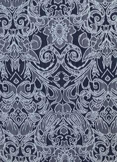 Stoff Ornamente - 510 Stretch- Jeansstoff Blau Weiß - ein Designerstück von…