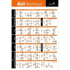 "Exercise Ball Poster - Total Body Workout - Your Personal Trainer Fitness Program for Women - Swiss, Yoga, Balance & Stability Ball Home Gym Poster - Tone Your Core, Abs, Legs Gluts & Upper Body - Motivational Work Out Improves Your Training Routine - 20""x30"""