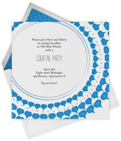 Paperless Post - blue pattern party invitation (cocktail, pool, shower)