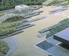 "Original source information unavailable: repined from Pinterest.  Geometric lines introduced into a ""zen"" rock garden."