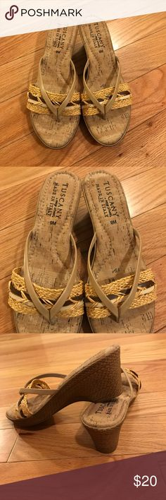 Tuscany By Easy Street Basket Weave Sandals Beautiful sandals made in Italy. Have a lovely faux basket weave detail on the wedge of the sandal. It has great caution for added comfort. Condition is brand new without tags or box. Tuscany by Easy Street Shoes Sandals