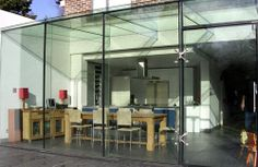 Slick and modern extension or too much glass and lack of privacy? Glass Extension, Extension Ideas, Extension Google, Henley Homes, Glass Conservatory, Glass Room, Property Development, House Extensions, Glass House