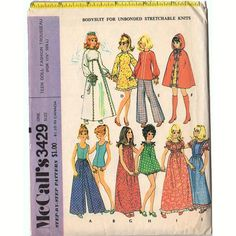 McCalls 3429 Vintage Sewing Pattern for dolls such as Barbie Trousseau 70s