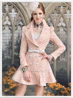 Morpheus Boutique  - Pink Long Sleeve Jacquard Double Breasted Flora Pleated Overcoat, $199.99 (http://www.morpheusboutique.com/pink-long-sleeve-jacquard-double-breasted-flora-pleated-overcoat/)