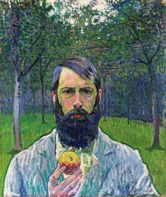 Cuno Amiet, Autorretrato con manzana, 1902-03. Óleo sobre lienzo, 64.5 x 54 cm. Kunstmuseum, Solothurn, Suiza