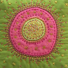 "Amoeba in Pink and Green-(close up) Embroidered mini art quilt. Featuring over 250 french knots. Measures 7.5"" x 7.5"" Victoria of The Silly Boodilly and Rural Retro Designs."