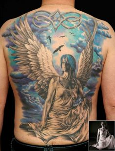 Guardian angel tattoos are very popular all over the world. The guardian angel goes back through all antiquity and it's easy to see why its loved by many!