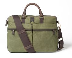 256be31cc976 Navali Waxed Gunner Briefcase (Olive Canvas)  149.99 at www.navali.com  Waxed. Waxed CanvasCotton CanvasCanvas Messenger BagDistressed Leather BriefcaseBag ...