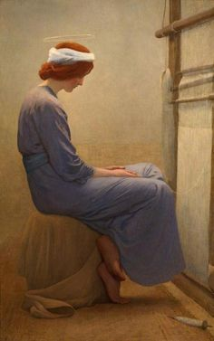 William Henry Margetson - Mary at the Loom (1895)