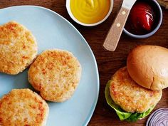 These golden Chicken Burgers are unbelievably juicy but surprisingly low in fat. To keep the calorie count low, use ground white chicken meat and low-fat milk when preparing the burger patties.