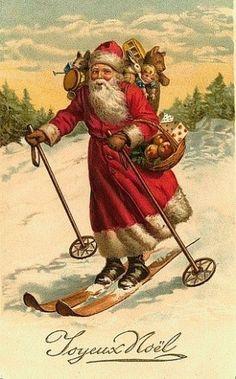 Santa on skis vintage Christmas postcard Images Vintage, Vintage Christmas Images, Old Fashioned Christmas, Victorian Christmas, Father Christmas, Santa Christmas, Vintage Holiday, Christmas Pictures, Christmas Greetings