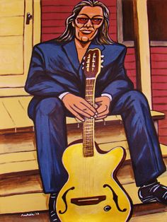 """SIXTO RODRIGUEZ ORIGINAL PAINTING man cave art- yamaha guitar-cd lp record album vinyl- searching for sugarman cold fact coming from reality. 22x30"""" ACRYLIC PAINTING on heavy art paper. This """"READY TO FRAME"""" painting will be professionally packed and shipped in a sturdy mailing tube, insured via USPS Priority Mail. I am John Froehlich the artist. My vibrant colored artwork will become a focal point and conversation piece in your home, man cave, business or office!-I have sold thousands of..."""