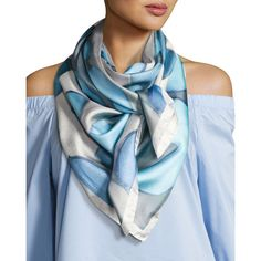 Designer Scarves & Wraps for Women at Neiman Marcus Ways To Tie Scarves, Ways To Wear A Scarf, How To Wear Scarves, Silk Scarves, Blue Scarves, Chiffon Scarf, Silk Chiffon, Silk Satin, Scarf Knots