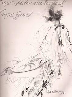 Fashion illustration by Antonio Lopez, 1979,   Italian Vogue.