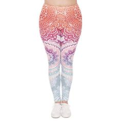 Zohra Plus Size Women Leggings Aztec Round Ombre Printing Stretch High Waist Large Size Trousers Pants For Plump Women Aztec Leggings, Ombre Leggings, Capri Leggings, Printed Leggings, Colorful Leggings, Crazy Leggings, Plus Size Pants, Plus Size Leggings, Trouser Pants