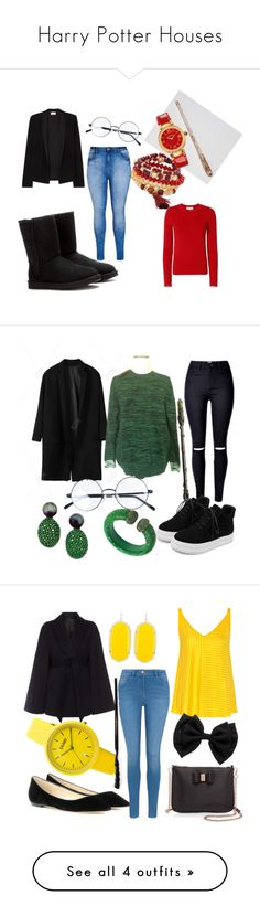 """Harry Potter Houses"" by alexia-couture ❤ liked on Polyvore featuring Design Lab, American Vintage, Carven, UGG, Versace, City Chic, STELLA McCARTNEY, WithChic, Latelita and Majestic"