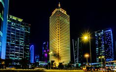 Download wallpapers Dubai World Trade Centre, nightscape, hotels, Dubai, UAE