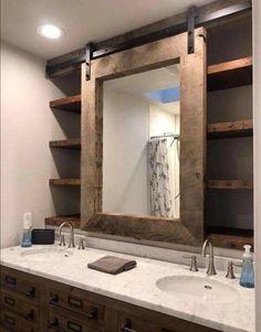 Farmhouse bathroom decor barn door mirror and shelves Bathroom Mirror  Storage 4c2efc21c
