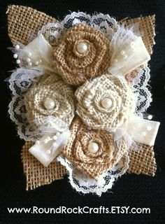 Custom Burlap 4 Rose Corsage  Mixed color by RoundRockCrafts, $22.00