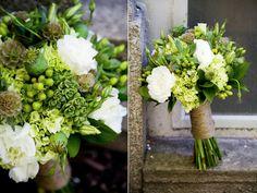 green white brown beige scabiosa pod succulent hydrangea poppy pod lisianthus wedding bouquet twine wrapped stems