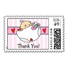 Baby Girl Thank You Postage Stamp! Make your own stamps more personal to celebrate the arrival of a new baby. Just add your photos and words to this great design.