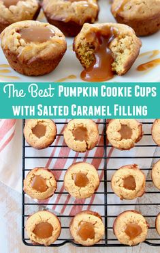 Delicious little pumpkin cookies are baked into mini cookie cups and filled with an easy homemade salted caramel sauce for a melt in your mouth fall dessert recipe! Mini Cookies, Cookie Cups, Pumpkin Cookies, Fall Dessert Recipes, Fall Recipes, Holiday Desserts, Holiday Recipes, Savory Pumpkin Recipes, Caramel Cookies
