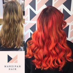 What a beautiful, vibrant transformation by Daisy! #beforeandafterhair #beforeandafter #truro #trurohairsalon #cornwall #redken #redkencitybeats #copperhair #orangehair #vibranthair #newhair