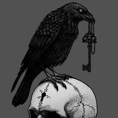the key, Nona Karnowska // Dybuk Ink Black Crow Tattoos, Black Bird Tattoo, Skeleton Tattoos, Asian Tattoos, Tattoo Names, Name Tattoos, Body Tattoos, Celtic Raven Tattoo, Celtic Tattoos