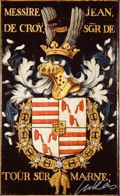 "(23) Jean II de CROŸ, comte de Chimay (ca 1403-1472) -- ""Messire Jean de Croÿ, sgr de Tour sur Marne"" -- Armorial plate from the Order of the Golden Fleece, painted by Pierre Coustain, 1445, Saint Bavo Cathedral, Gent"