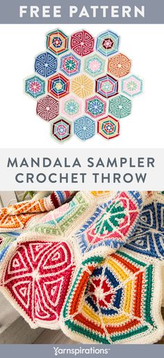Free crochet Mandala Sampler Throw pattern using Red Heart Super Saver yarn. Thi… You are in the right place about how to Crochet Here we. Punto Red Crochet, Scrap Yarn Crochet, Crochet Geek, Crochet Home, Crochet Crafts, Crochet Projects, Free Crochet, Crochet Afghans, Crochet Squares Afghan