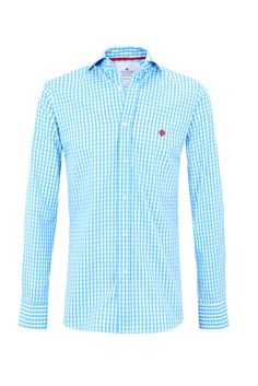 "Turquoise gingham ""Grant"" shirt w/ logo embroidered in fire engine red. 100% cotton Available in Slim Fit & Classic Fit"