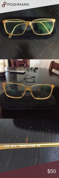 Unisex Yellow Eyeglass Optical Frames See Eyewear Yellow Eyeglass Frames with original non-prescription lenses which can be swapped out for your own prescription   Comes with original case  Perfect NWOT condition!  Made in Italy! See Eyewear Accessories Glasses