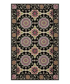 Take a look at the Black Equilibrium Wool Hooked Rug on #zulily today!