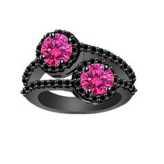 0.99 ct Pink Sapphire & Black Spinel Solitaire with Accents Ring in Sterling  #jpjewels8 #SolitairewithAccents
