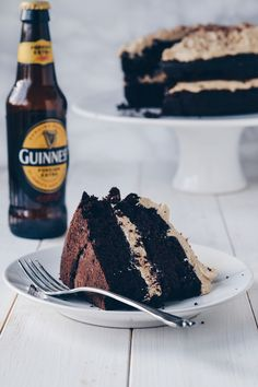 GUINNESS CHOCOLATE CAKE WITH IRISH CREAM FROSTING ~~~ A vegan cake that's boozey, chocolatey and oh so indulgent